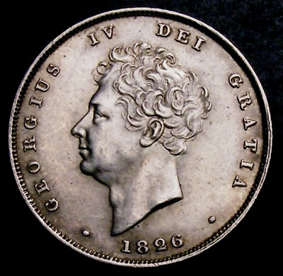 1826 AUNC Great Britain King George IV Silver Shilling Coin CGS 75, MS 62-63
