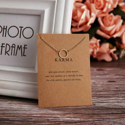 Simple Gold Karma Circle Charm Pendant Chain Necklace Womens Jewellery Gifts New
