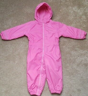 Baby Girls Regatta Pink Puddlesuit Waterproof All in One Snowsuit 12-18 Months