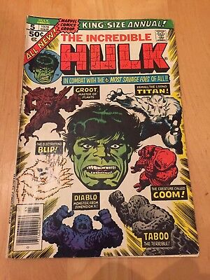 Incredible Hulk Annual #5 (Marvel 1976) F Copy - 2Nd Groot Appearance!