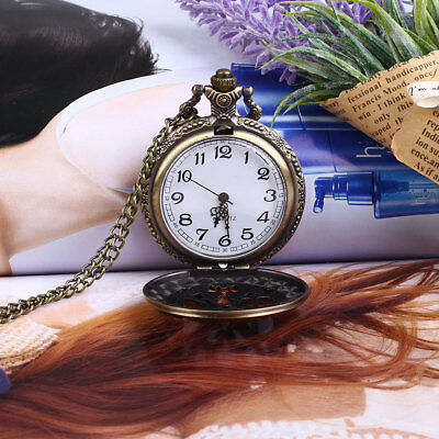 DFB9 Vintage Retro Bronze DAD Hollow Quartz Pocket Watch Pendant Necklace Gift