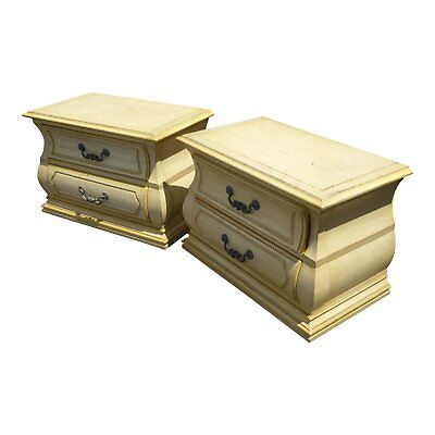Pair Vintage French Country Style Bombay Bombe Two Drawer Nightstands by Century