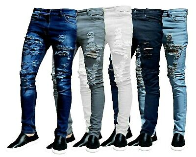 Mens Skinny Stretch Slim Fit Denim Distressed Frayed Hipster Ripped Jeans