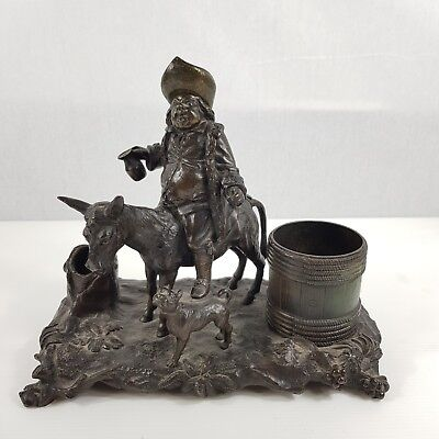 Antique 19th Century Bronze Figural Desk Stand Drunk Man On Donkey With Dog 23cm