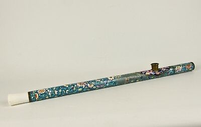 A 19th Century Chinese Canton Enamelled Long Pipe, White Hard-Stone Mouthpiece.