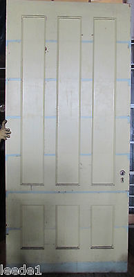"Late 1800's Yellow Pine Door 6 Panel 8' x 44"" x 1-7/8 Architectural Salvage"