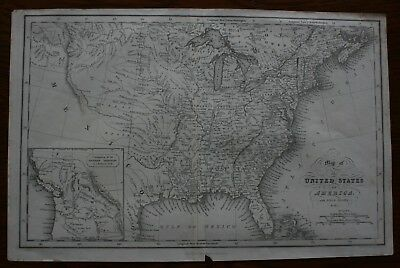 Hintons original antique map of The United States of America published 1832