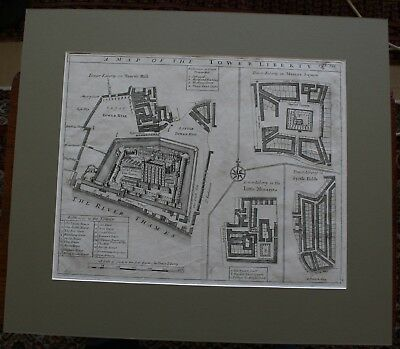 Tower of London Stows Map of the Tower Liberty original antique engraving 1720