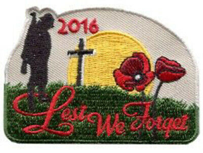 Lest We Forget A Man With Gun Praying Patch Badge Iron Or Sew On 6cm x 7.5cm