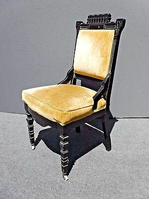 Vintage Victorian Black Carved Wood Side Chair with Yellow Velvet Upholstery