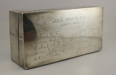 1926 Sterling Silver PRESENTATION Cigar / Cigarette Box ~ ENGLAND Harvard