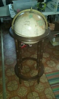 Cram's Imperial World Globe Vintage On Oak Wood Stand
