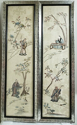 Antique Pair Chinese Embroidered Embroidery Wall Panels Landscape Scholars Silk