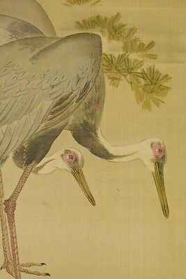 JAPANESE CRANE Hanging Scroll Painting Old Kakejiku AGED ink Japan Antique a320