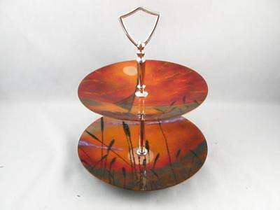 Enamel On Copper Two Tier Serving Plate Platter Tray Signed  Mid Century Modern