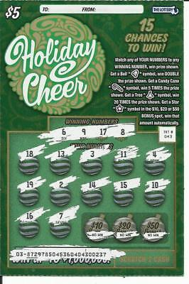 130-$5 2018 HOLIDAY CHEER Mass/MA Lottery No-2nd CH /No-Win Used Tix ($650 PV)
