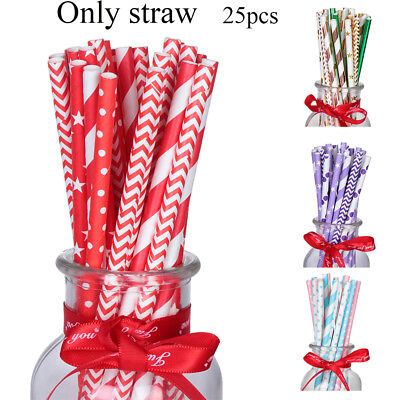 25xColors Striped Paper Drinking Straws-Rainbow Mixed For Party Decorations 2018