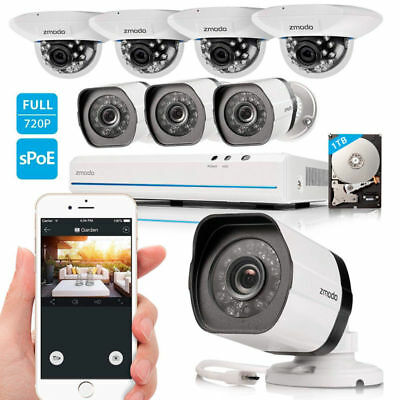 Zmodo 8CH 1080p HDMI NVR 720p Indoor/Outdoor Camera Home Security System 1TB HDD