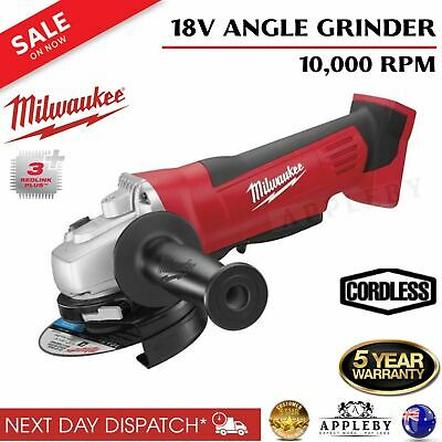 "Milwaukee 18V Cordless Angle Grinder 125mm 5"" M18 4 Pole Motor Cutting Grinding"