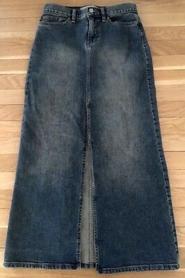 Gap Denim Slim Fit Long Ankle Length Skirt with High Front Slit ~ Size XS