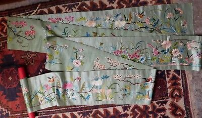 Antique Very Long  - 5 Metres - Chinese Silk Embroidered Panel, Birds / Flowers