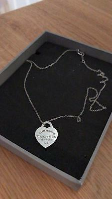 "Tiffany & Co Small Sterling Silver Heart on 16"" chain"