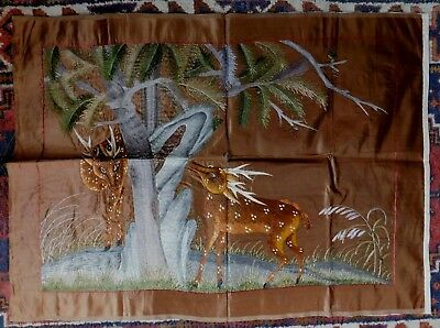 Antique Chinese Densely Embroidered Silk Panel, Two Deer In A Forest