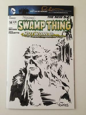 Swamp Thing #14 Wraparound Cover With Original art Sketches! Yeates! Bissette!