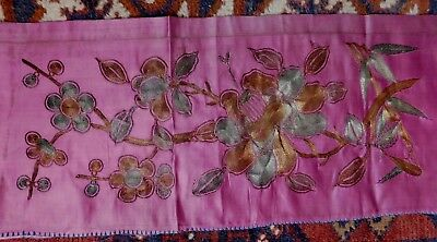 Antique Chinese Silk Embroidered Panel, Metallic Thread Flowers On Pink Silk