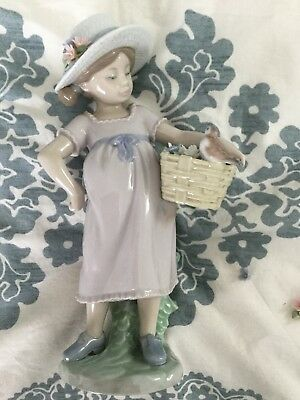 """Lladro You're So Cute 6826 Girl with Bird 8.25"""" Missing 2 Flowers"""