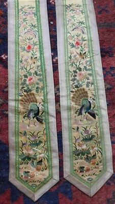 Finely Embroidered Pair Of Antique Chinese Silk Sashes, Birds / Butterflies