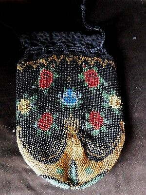 Antique Bead Work Drawstring Hand Bag / Purse With Crochet Top, Gold Beads