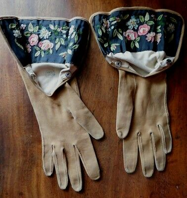Superb Pair Vintage French Ladies Kid Leather Gloves, Embroidered Cuffs (Inset)