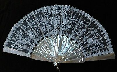 Antique Brussels Lace And Mother Of Pearl Hand Fan, 27 Cm