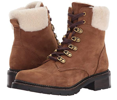 New in Box Womens FRYE Samantha Combat Hiker Boots Cognac MSRP $ 398