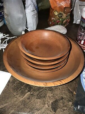 One Large Wooden Salad Bowl With Four Salad Serving Bowls Nice