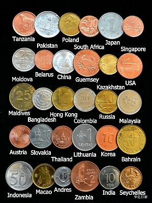 Set Of 30 Coins From 30 Different Countries Coins Lot Free Shipping World Wide