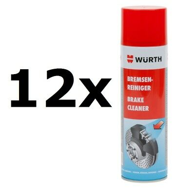 12x NEW Genuine WURTH Brake Cleaner Aerosol Solvent Spray 500ml =6000ml 08901087