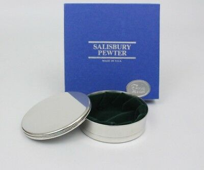 "NEW Salisbury PEWTER Queen Anne Jewel or Trinket Box w/ packaging - 3"" - GREEN"