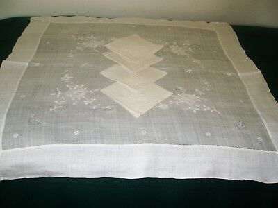 Vintage sheer linen luncheon cloth and napkins
