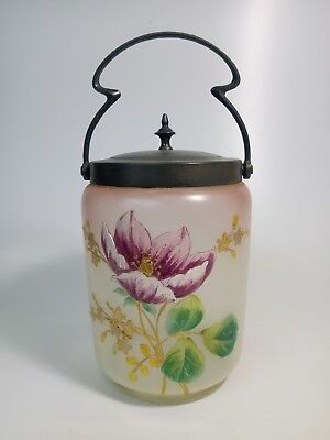 Antique French Enameled Glass Pewter Lid Candy Cookie Jar Basket 19th c