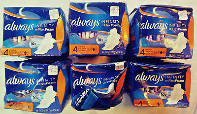 Always Infinity With Flex Foam 6 Boxes Total Size 4 Overnight 14 Pads Each Box
