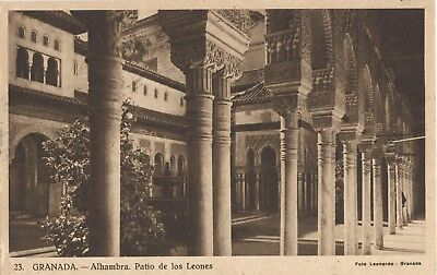 Vintage Postcard 1957  Granada, Spain,  Alhambra Colonnade of Patio of the Lions