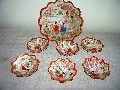 ANTIQUE HAND PAINTED JAPANESE SATSUMA KUTANI GEISHA Soy Sauce Bowls +Rice Bowl
