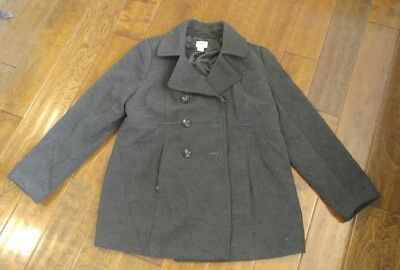Motherhood Maternity Winter Pea Coat Style Gray Jacket fully Lined - Size Large