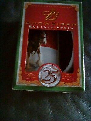 Budweiser Christmas Holiday Beer Steins Mugs Series 2003 2004 Holiday Stein Nos