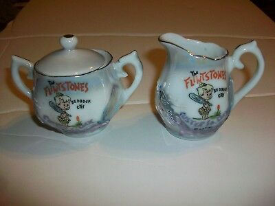 Vintage Flintstones Bedrock City Creamer and Sugar Bam Bam Dragon Made in Japan