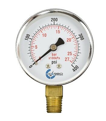 "2-1/2"" Pressure Gauge - Chrome Plated Steel Case, 1/4""NPT, Lower Mnt. 400 PSI"