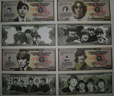 The Beatles /  One Million Dollar Bills /  Complete Set! / Novelty Federal Note
