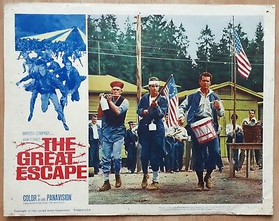 The Great Escape 1963 Large 14x11 US Film Lobby Card WW2 Movie Steve McQueen